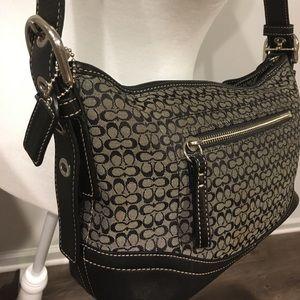 Black Coach signature logo Jacquard handbag